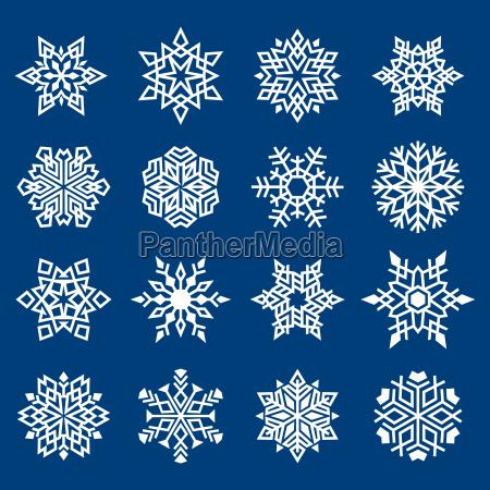 satz von schneeflocken ornament