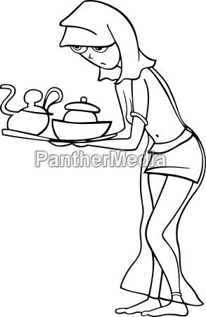 magd oder sklavin frau cartoon illustration