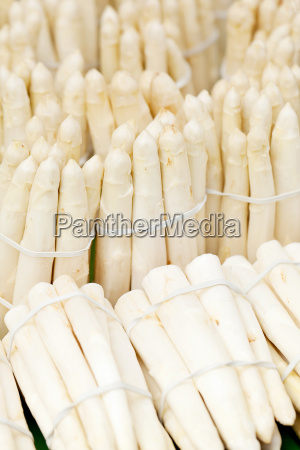 fresh delicious white asparagus sticks and