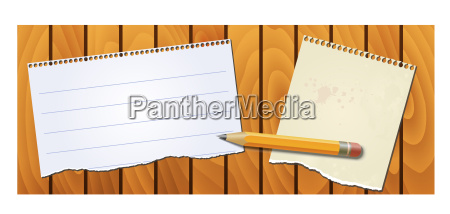 banner wood texture with notepad pencil
