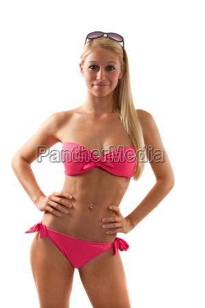 young lady in red bikini