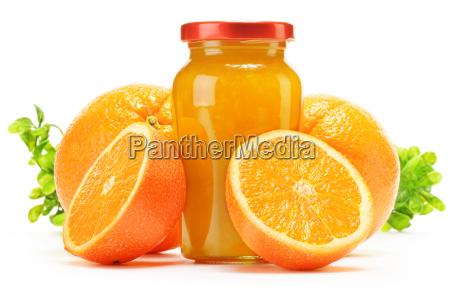 glas und krug orangensaft glas marmelade