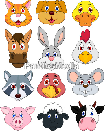 tierkopf cartoon set