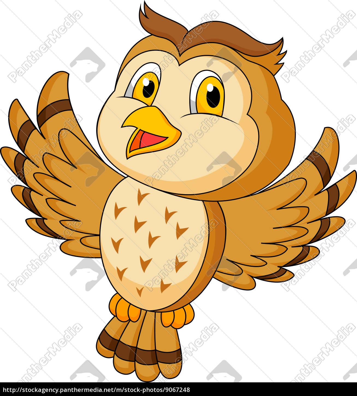 Nette Eule Cartoon Flug Lizenzfreies Foto 9067248 Bildagentur