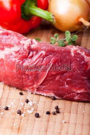 raw steak with pepper