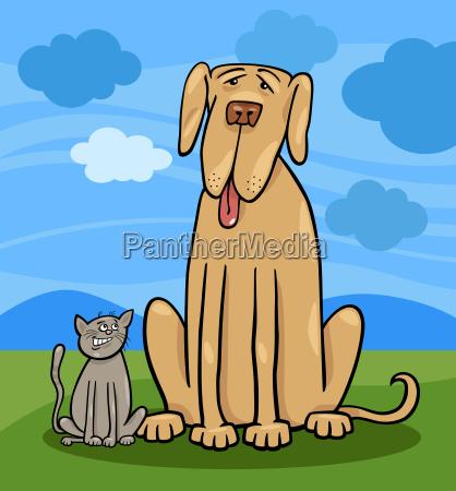 small cat and big dog cartoon
