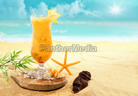 colourful carambola and orange cocktail