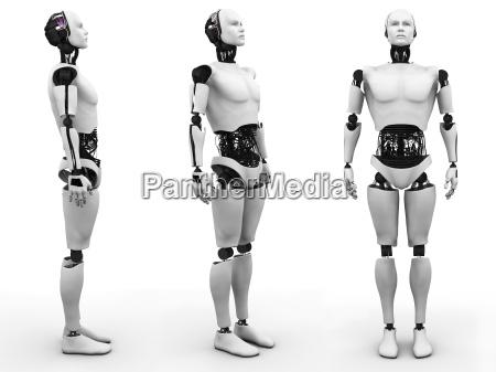 maennlich roboter stehend drei verschiedenen blickwinkeln