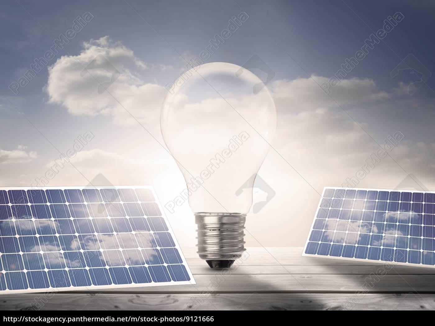 glühlampe, und, sonnenkollektoren, auf, dielen, in - 9121666