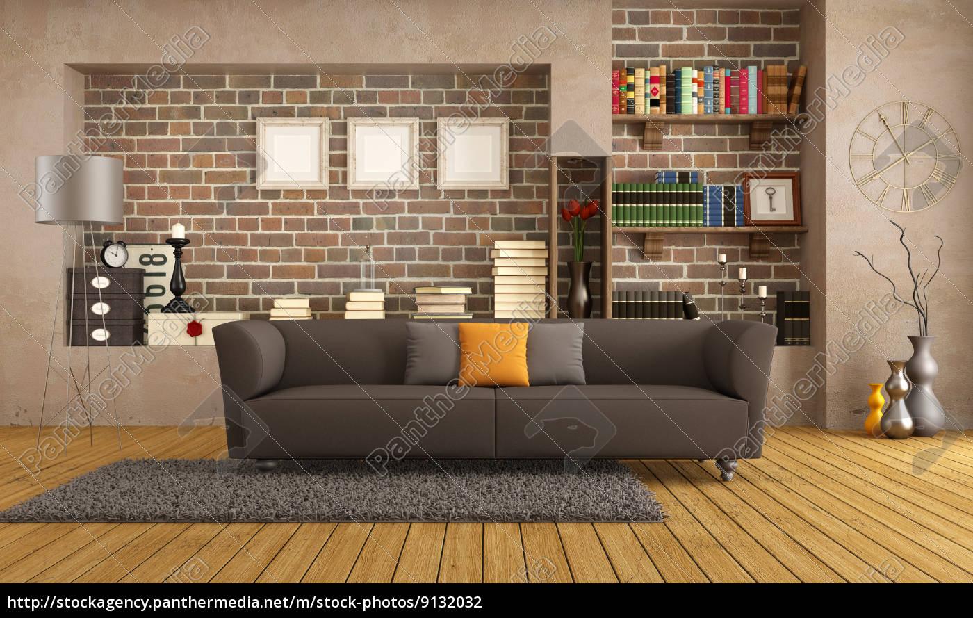 modern sofa in einem vintage wohnzimmer lizenzfreies foto 9132032 bildagentur panthermedia. Black Bedroom Furniture Sets. Home Design Ideas