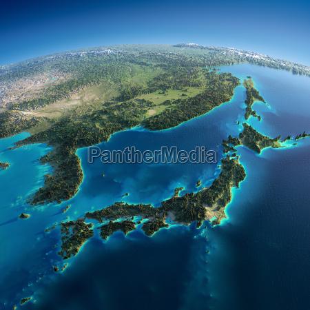 detaillierte erde japan und korea