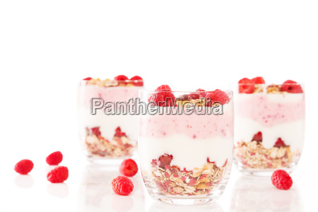 dessert with raspberries in front of