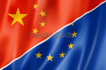 china und europa flagge