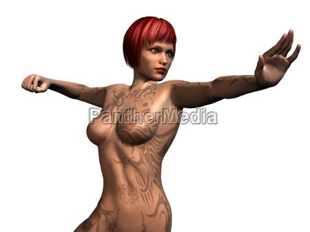 verfuehrerische pose einer unbekleideten rothaarigen beim