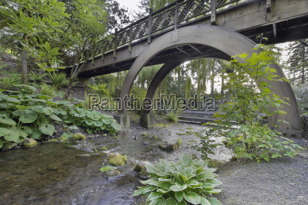 stream under the wooden bridge arches