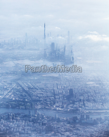dubai downtown in fog