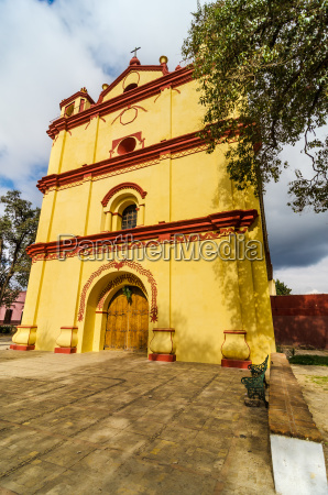 yellow and red church
