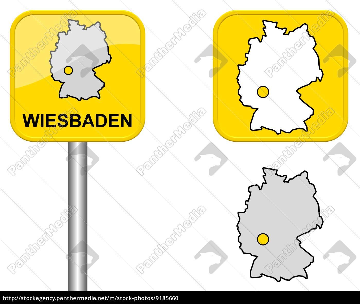 Ortsschild Deutschlandkarte Und Button Von Wiesbaden