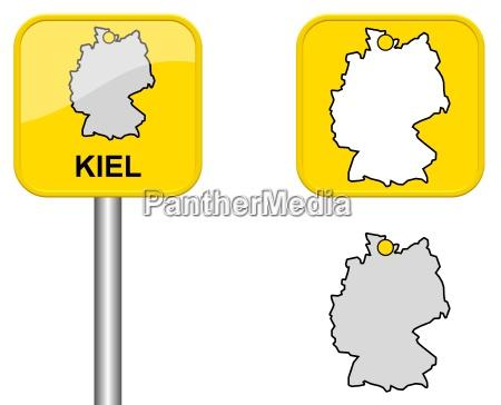 ortsschild deutschlandkarte und button von kiel