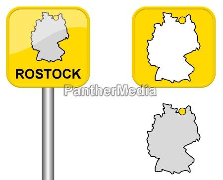 Ortsschild Deutschlandkarte Und Button Von Rostock Lizenzfreies