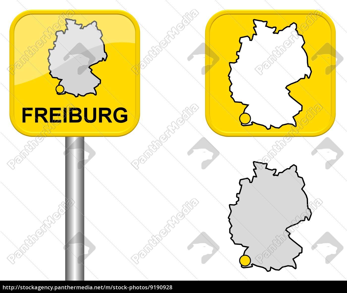 Ortsschild Deutschlandkarte Und Button Von Freiburg Lizenzfreies