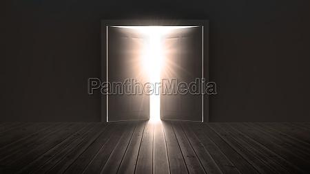 tueren oeffnen ein helles licht in
