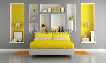 gelbe und graue moderne schlafzimmer