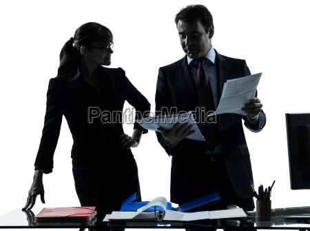 busy smiling business woman man couple