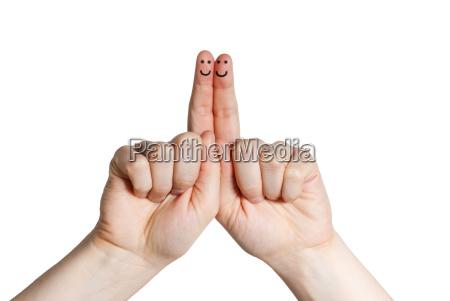 zwei laechelnden finger