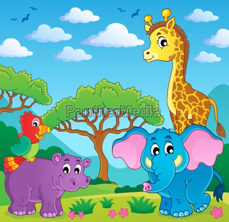 cute african animals theme image 5