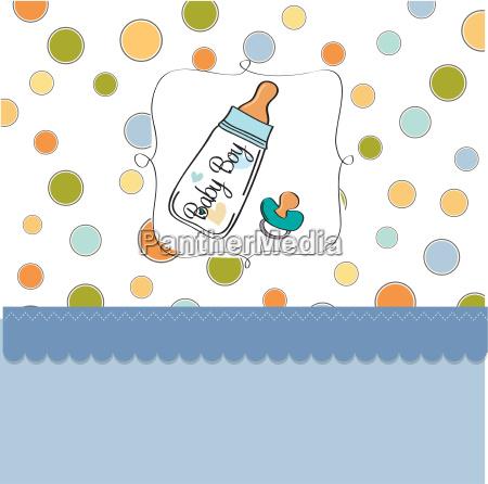 babymitteilungskarte mit milchflasche und schnuller