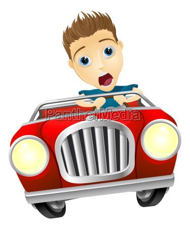 cartoon man schnell auto fahren