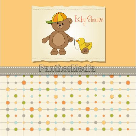 suesse grusskarte mit jungen teddybaer