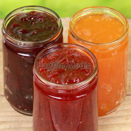 drei sorten marmelade