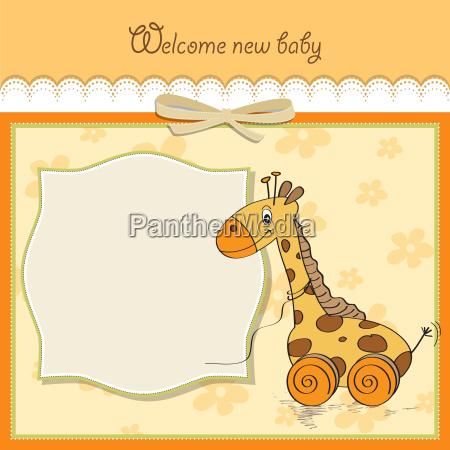 baby dusche karte mit niedlichen giraffe