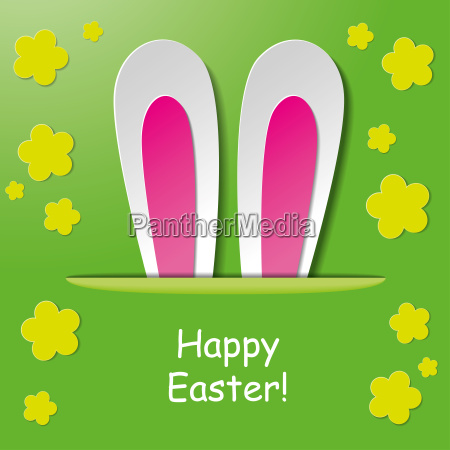 happy easter bunny ears green background