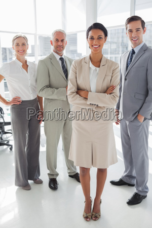 attractive businesswoman standing in front of
