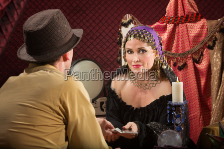 fortune teller with businessman