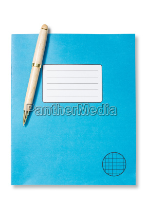 blue exercise book and pen