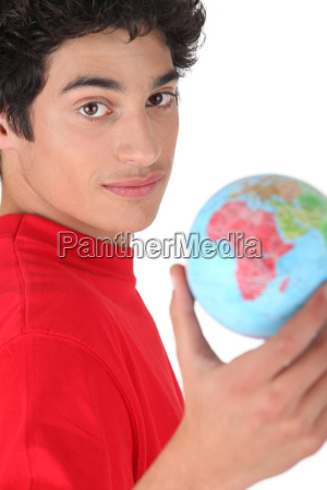 young brunette with globe