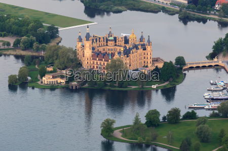 schwerin castle as aerial view from