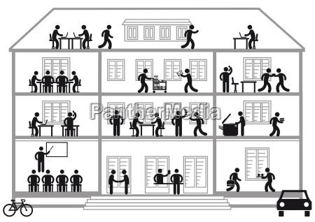 buerohaus mit arbeitsplaetzen