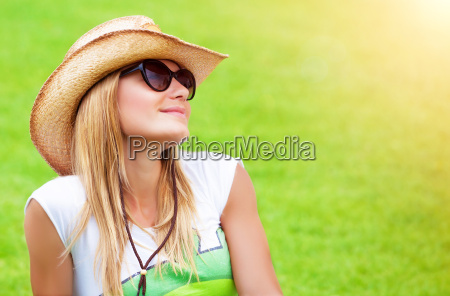 cute female on green field