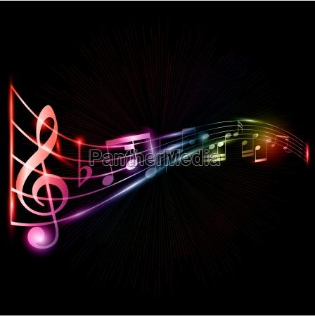 neon musiknoten hintergrund