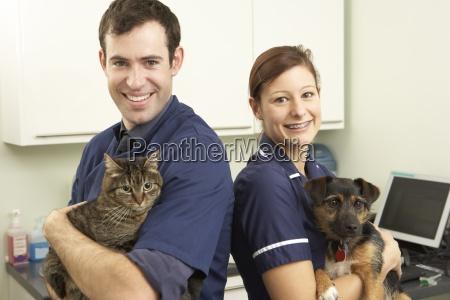 maennliche tierarzt und krankenschwester holding katze