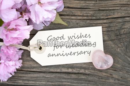 pink blossoms and wedding anniversary cardflowerswedding