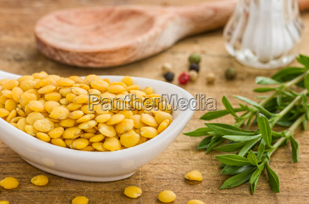 porcelain bowl with yellow lentils