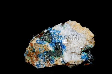 mineralien mit azurit malachit und quarz