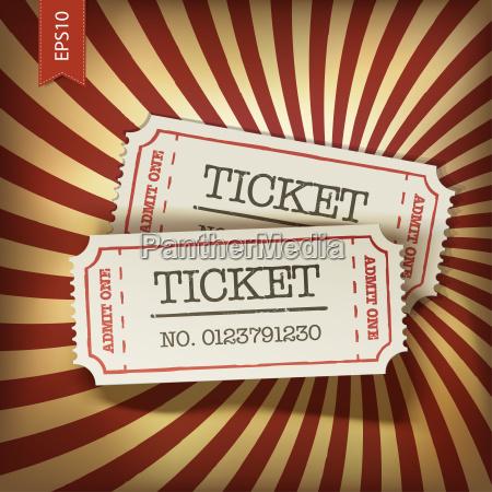 cinema tickets on retro rays background