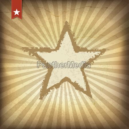 retro brown sunburst background with star
